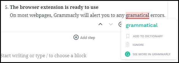 Grammarly Example of Spelling Error