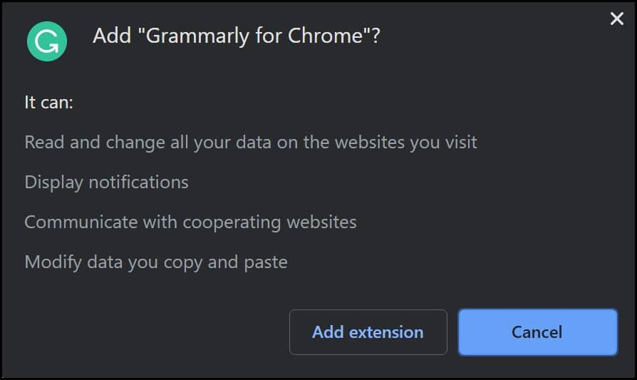 Grammarly for Chrome Message