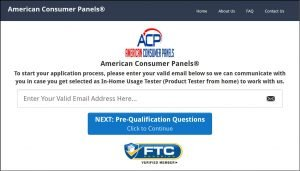 American Consumer Panels Email Address Entry
