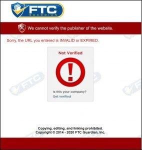 FTC Guardian Not Verified Popup