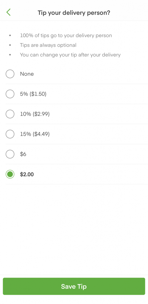Instacart Tipping example where 5% of the order is less than $2.